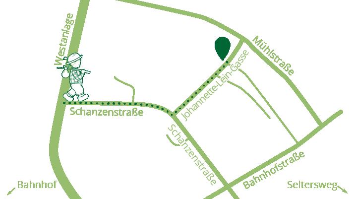 Eine kleine Karte um den Weg zu Unverpacktes Gießen in der Johanette-Lein-Gasse zu finden.